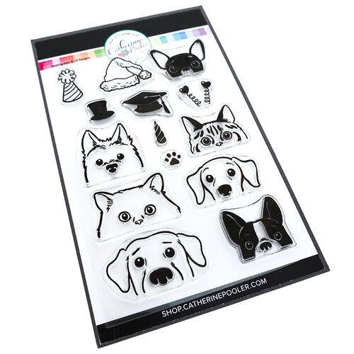 Catherine Pooler Designs - Let's Party Collection - Clear Photopolymer Stamps - Peeking Pets