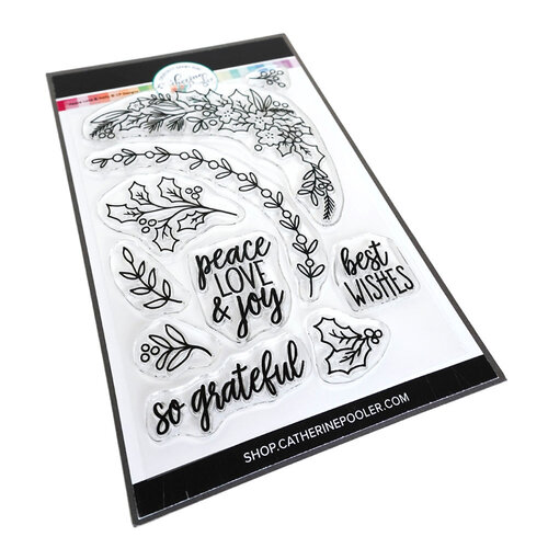 Catherine Pooler Designs - Clear Photopolymer Stamps - Christmas - Peace Love and Holly