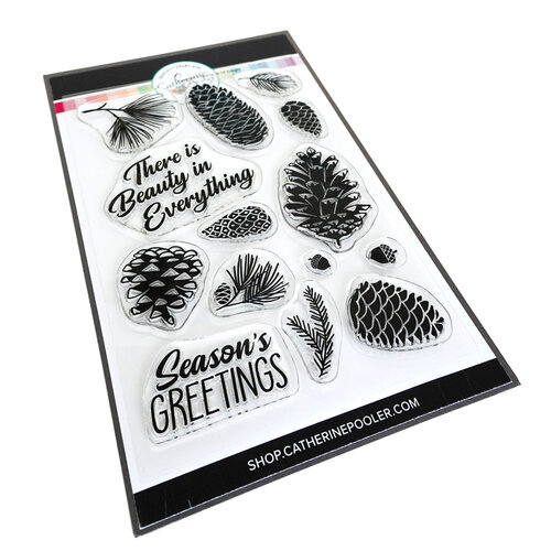 Catherine Pooler Designs - Clear Photopolymer Stamps- Pinecone Greetings