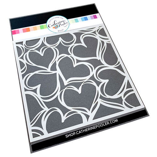 Catherine Pooler Designs - Love N Hearts Collection - Stencils - Scribbled Hearts