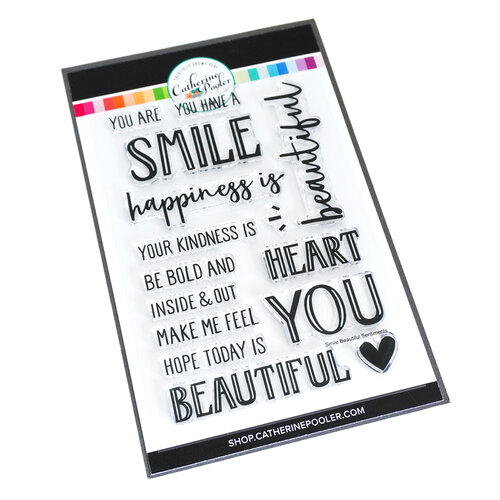 Catherine Pooler Designs - Forever 13 Collection - Clear Photopolymer Stamps - Smile, Beautiful Sentiments