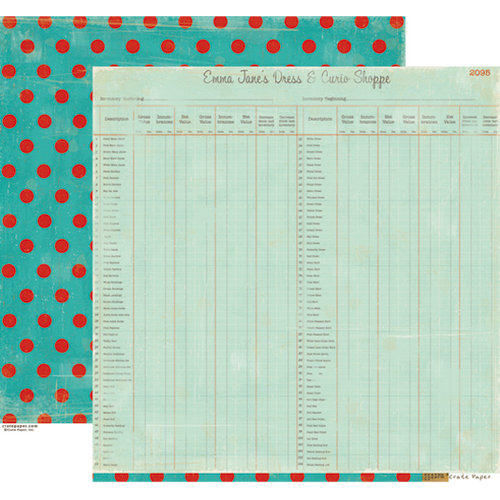 Crate Paper - Emma's Shoppe Collection - 12 x 12 Double Sided Paper - Inventory