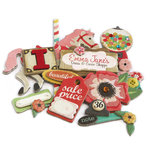 Crate Paper - Emma's Shoppe Collection - Layered Chipboard Stickers - Buttons Felt and Rhinestone Accents, CLEARANCE
