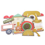 Crate Paper - Neighborhood Collection - Layered Chipboard - Buttons Felt and Rhinestone Accents