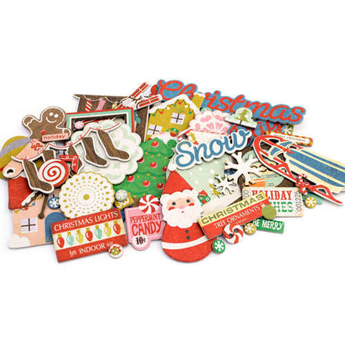 Crate Paper - Peppermint Collection - Christmas - Chipboard Stickers - Accents