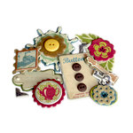 Crate Paper - Restoration Collection - Layered Chipboard Stickers - Buttons Felt and Rhinestone Accents