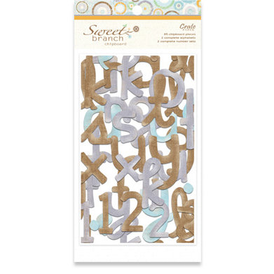 Crate Paper - Sweet Branch Collection - Chipboard Alphabet and Numbers, CLEARANCE