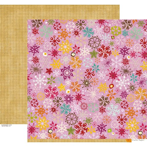 Crate Paper - Snow Day Collection - Christmas - 12 x 12 Double Sided Paper - Flakes