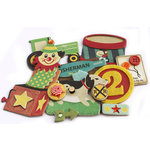Crate Paper - Toy Box Collection - Layered Chipboard Stickers - Buttons Felt and Rhinestone Accents