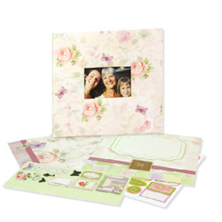 C R Gibson - Tapestry - 12 x 12 Predesigned Scrapbook - Pink Floral Friends, CLEARANCE
