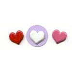 Creative Impressions - Brads - Heart - Pink Red and White - Medium