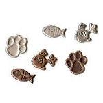 Creative Impressions - Brads - Cat Paw and Fish Bones - Antique