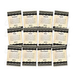 Chic Tags - Delightful Paper Tags - 2012 Lace Calendars - Black and White - Set of 12