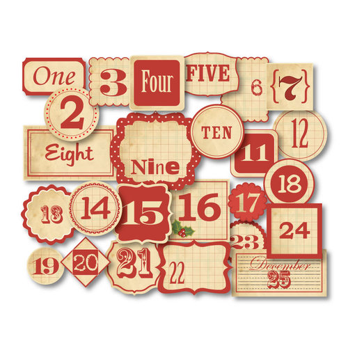 Chic Tags - Delightful Paper Tags - Christmas Vintage Red Advent Numbers - Set of 25