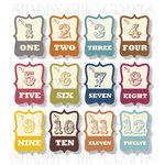Chic Tags - Delightful Paper Tags - Fall Mini Artisan Numbers - Set of 12