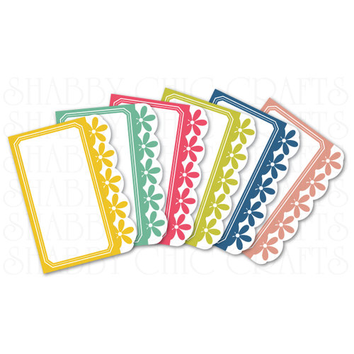 Chic Tags - Delightful Paper Tags - Flower Border Artist Trading Cards - Set of 6