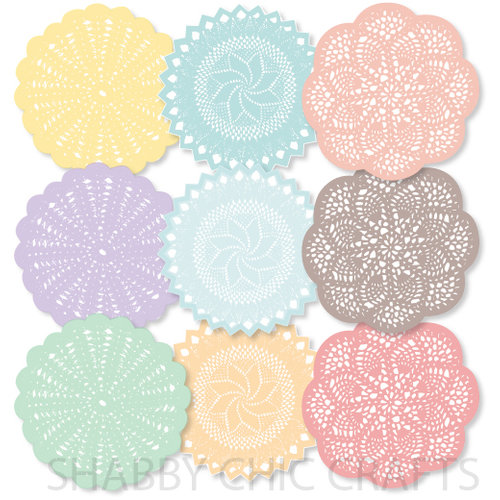 Chic Tags - Delightful Paper Tags - Grandma's Doilies - Set of 9