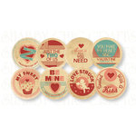 Chic Tags - Delightful Paper Tags - Valentine Milk Bottle Caps - Set of 8