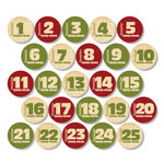 Chic Tags - Christmas - Delightful Paper Tags - Vintage Christmas Advent Numbers - Set of 25