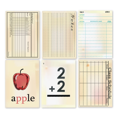 Chic Tags - Delightful Paper Tags - Vintage School Cards - Set of 6