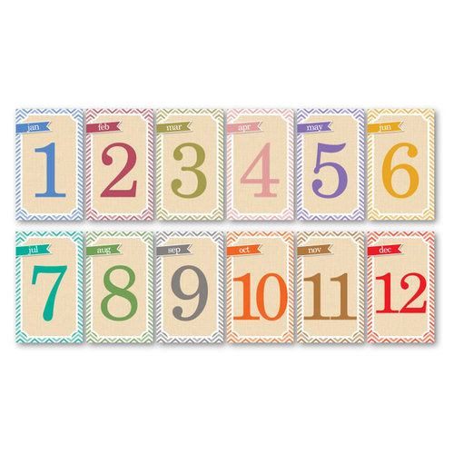 Chic Tags - Delightful Paper Tags - Chevron Months - Set of 12