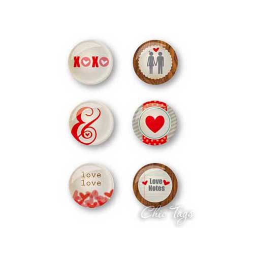 Chic Tags - Delightful Paper Tags - Valentine Collection - Love Note Flair Buttons - Set of 6