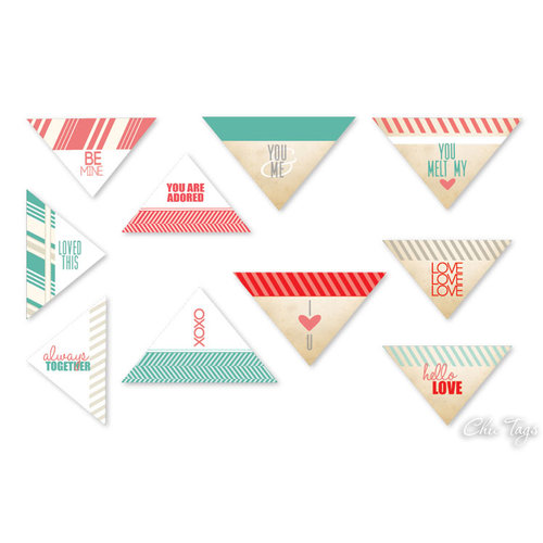Chic Tags - Delightful Paper Tags - Valentine Collection - Love Note Triangles - Set of 10