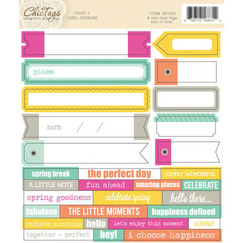 Chic Tags - Cloud 9 Collection - Cardstock Stickers - Labels