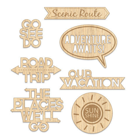 Chic Tags - Lets Go Collection - Wood Veneer Shapes - Places