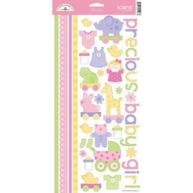 Doodlebug Design - Baby Girl Collection - Cardstock Stickers - Bitty Baby Girl