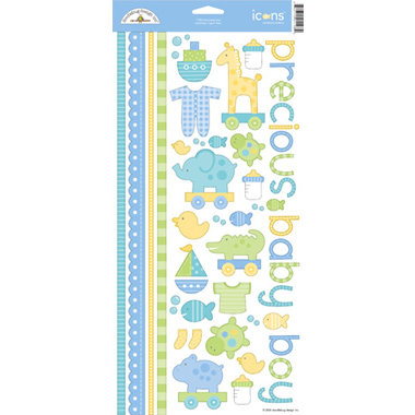 Doodlebug Design - Baby Boy Collection - Cardstock Stickers - Bitty Baby Boy