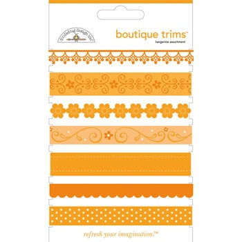 Doodlebug Designs - Boutique Trims - Assorted Ribbon - Tangerine, CLEARANCE