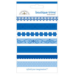 Doodlebug Designs - Boutique Trims - Assorted Ribbon - Blue Jean, CLEARANCE