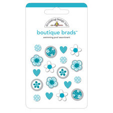Doodlebug Designs - Boutique Brads - Assorted Brads - Swimming Pool, CLEARANCE