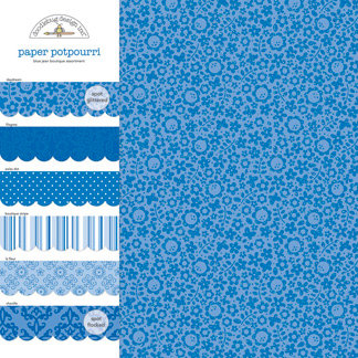 Doodlebug Design - Potpourri - 12 x 12 Paper Assortment - Blue Jean