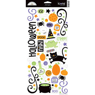 Doodlebug Design Hocus Pocus Halloween Sugar Coated Cardstock Stickers Icons