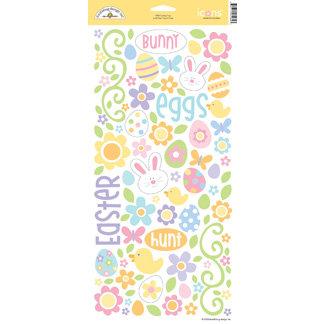 Doodlebug Design - Bunny Hop Collection - Easter - Sugar Coated Cardstock Stickers