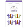 Doodlebug Design - Sugar Plum Collection - Jeweled - Brads - Plum Butterflies Braddies, CLEARANCE