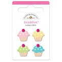 Doodlebug Design - Confections Collection - Jeweled - Brads - Cuppy Cakes Braddies, CLEARANCE