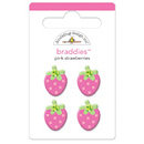 Doodlebug Design - Strawberry Parfait Collection - Jeweled - Brads - Pink Strawberries Braddies, CLEARANCE