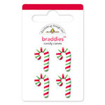 Doodlebug Design - Christmas Candy Collection - Brads - Candy Canes Braddies