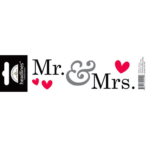 Doodlebug Design - Headlines Collection - Cardstock Stickers - Mr. And Mrs.