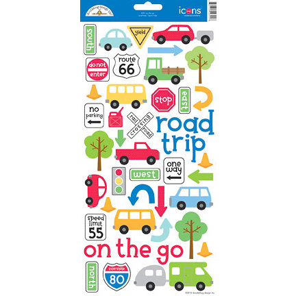 Doodlebug Design - On The Go Collection - Cardstock Stickers - Icons