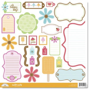 Doodlebug Design - Summertime Collection - Cute Cuts - 12 x 12 Cardstock Die Cuts