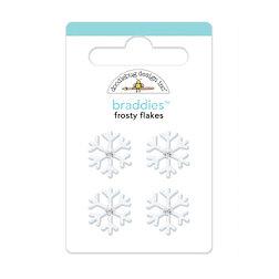 Doodlebug Design - Happy Holidays Collection - Brads - Frosty Flakes Braddies