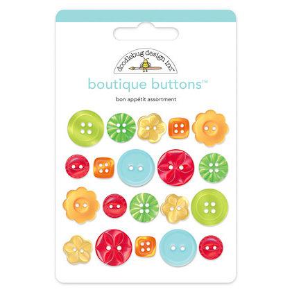 Doodlebug Design - Bon Appetit Collection - Boutique Buttons - Assorted Buttons - Bon Appetit