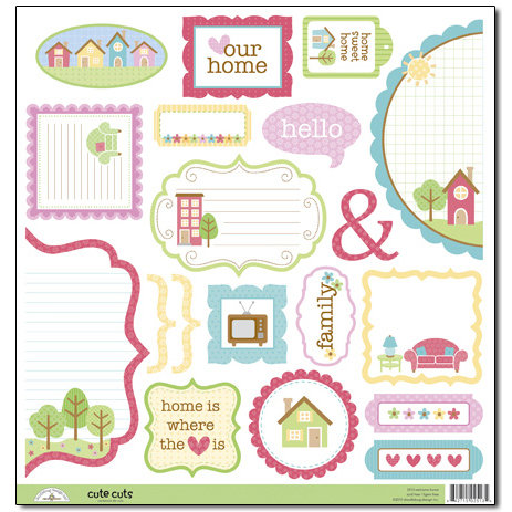 Doodlebug Design - Welcome Home Collection - Cute Cuts - 12 x 12 Cardstock Die Cuts