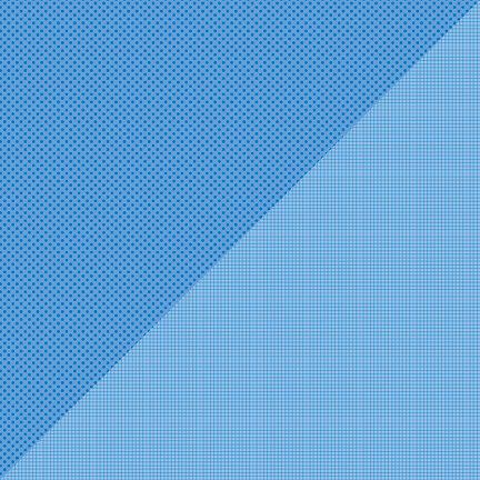 Doodlebug Design - Petite Prints Collection - 12 x 12 Double Sided Paper - Dot Grid Blue Jean