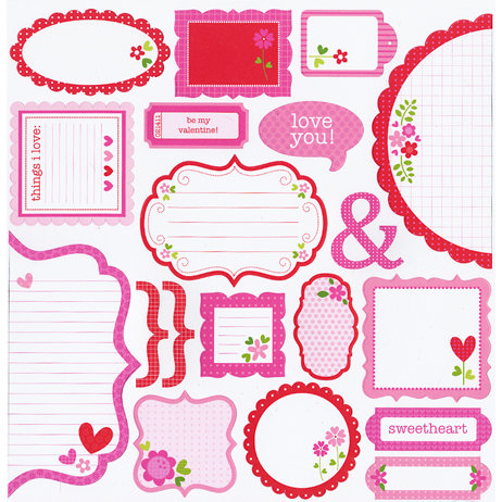 Doodlebug Design - Sweet Love Collection - Cute Cuts - 12 x 12 Cardstock Die Cuts