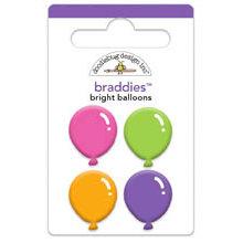 Doodlebug Design - Cake and Ice Cream Collection - Brads - Bright Balloons Braddies